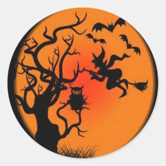 Spooky Halloween Witch Classic Round Sticker