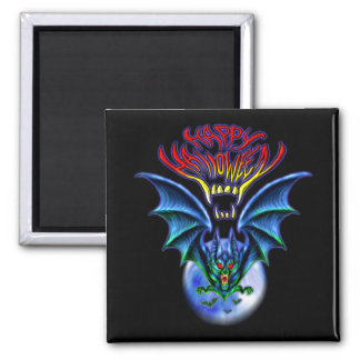 Spooky Happy Halloween Bat Magnet