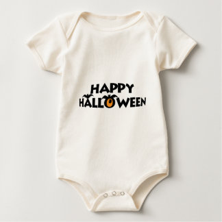 Spooky Happy Halloween Text with Bat Baby Bodysuit