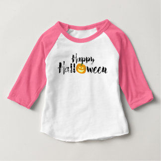 Spooky Happy Halloween Text with Pumpkin Custom Baby T-Shirt