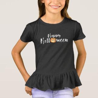 Spooky Happy Halloween Text with Pumpkin Custom T-Shirt
