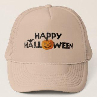 Spooky Happy Halloween Text with Pumpkin Trucker Trucker Hat