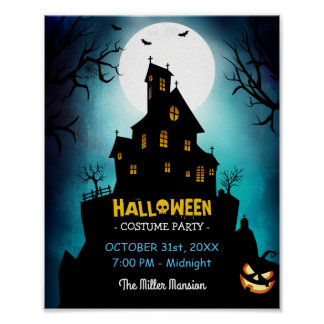 Spooky Haunted House Costume Halloween Party Poster