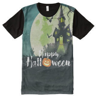 Spooky Haunted House Costume Night Sky Halloween All-Over Print T-Shirt