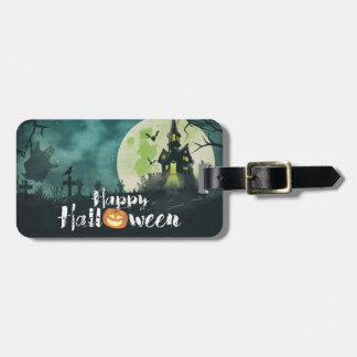 Spooky Haunted House Costume Night Sky Halloween Bag Tag