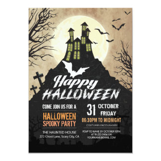 Spooky Haunted House Costume Night Sky Halloween Card