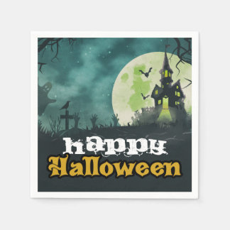 Spooky Haunted House Costume Night Sky Halloween Disposable Napkin