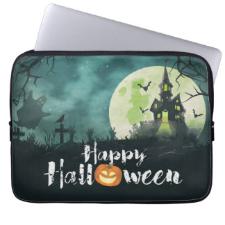 Spooky Haunted House Costume Night Sky Halloween Laptop Computer Sleeve