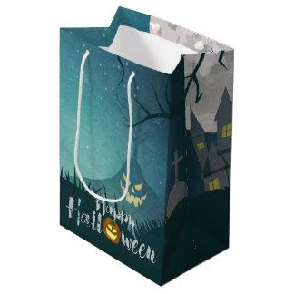 Spooky Haunted House Costume Night Sky Halloween Medium Gift Bag