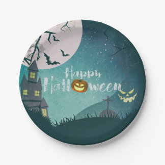 Spooky Haunted House Costume Night Sky Halloween Paper Plate