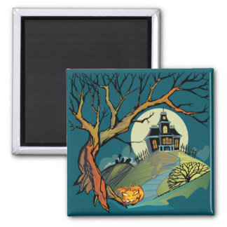 Spooky Haunted House Fridge Magnets