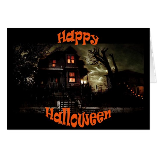 spooky house3 halloween greeting card