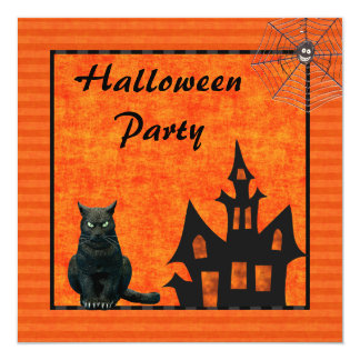 Spooky House, Cat & Spider Halloween Party 13 Cm X 13 Cm Square Invitation Card