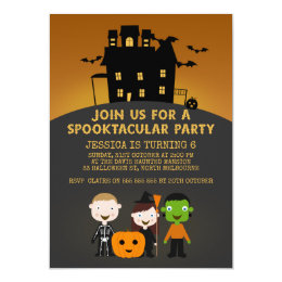 Halloween birthday cards invitations zazzle spooky house kids halloween birthday invitation bookmarktalkfo Image collections