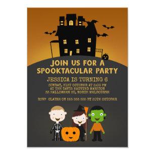 Halloween birthday cards invitations zazzle spooky house kids halloween birthday invitation bookmarktalkfo Images