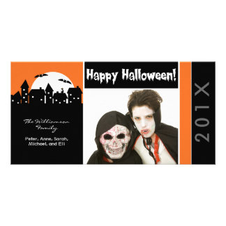 Spooky Houses Family Halloween Photocard Photo Greeting Card