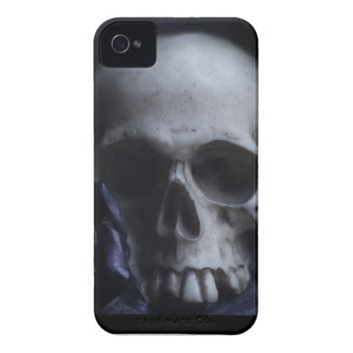 Spooky Human Skull Grim Black White Photography Case-Mate iPhone 4 Cases