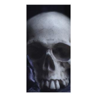 Spooky Human Skull Grim Black White Photography Photo Greeting Card