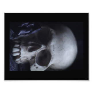Spooky Human Skull Grim Black White Photography Photographic Print