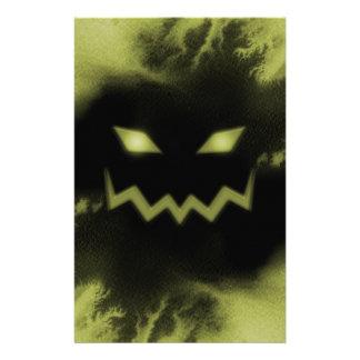 Spooky Jack O Lantern Face Blk Yellow Custom Stationery