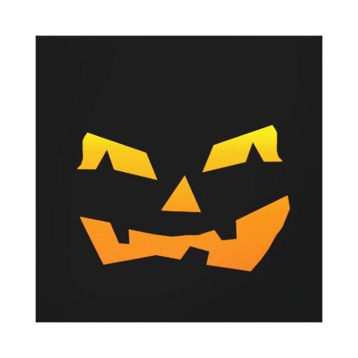 Spooky Jack O Lantern Halloween Pumpkin Face Canvas Prints