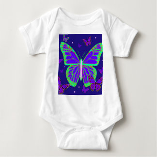Spooky Luminous Butterflies By Sharles Art Baby Bodysuit