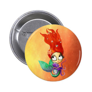 Spooky Mermaid with Octopus 6 Cm Round Badge