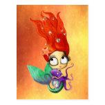 Spooky Mermaid with Octopus Postcard