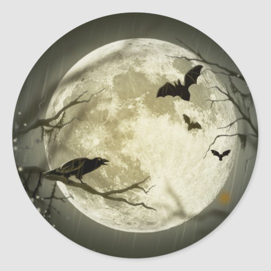 Spooky Night Moon Tree Autumn Destiny Celebration Classic Round Sticker