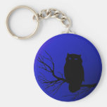 Spooky Night Owl Basic Round Button Key Ring