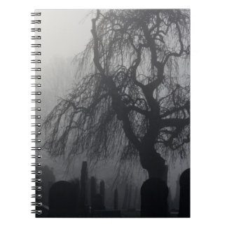 Spooky Old Cemetery On A Foggy Day Notebooks