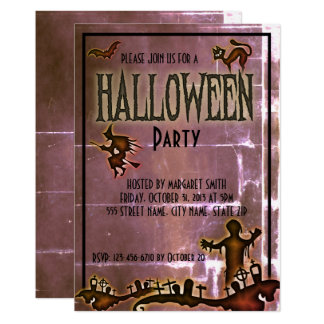 Spooky Old Paper Halloween Party Invite