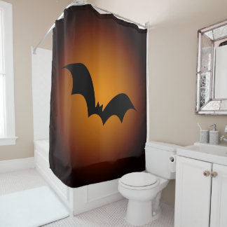Spooky Orange Halloween Bat Silhouette Animal Shower Curtain