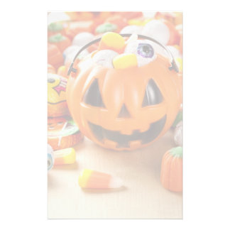Spooky Orange Halloween Candy Stationery