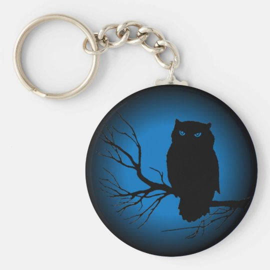 Spooky Owl Blue Moon Basic Round Button Key Ring
