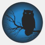 Spooky Owl Blue Moon Round Sticker