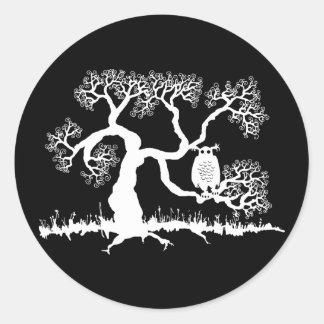 Spooky Owl In Tree Classic Round Sticker