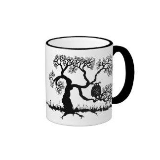 Spooky Owl In Tree Mugs