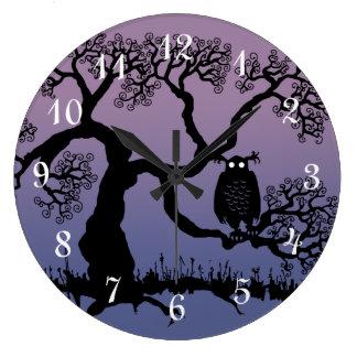 Spooky Owl In Tree Wallclock
