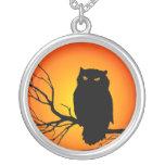 Spooky Owl Round Pendant Necklace