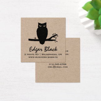 Spooky Owl Silhouette Square Business Card