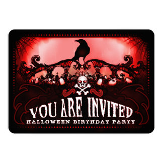 Spooky Red & Black Raven Halloween Birthday Party Card