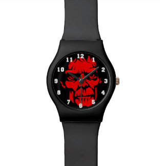 Spooky Red Zombie Face Watch