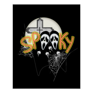 Spooky Screaming Ghost Faces  Halloween Graphic Poster