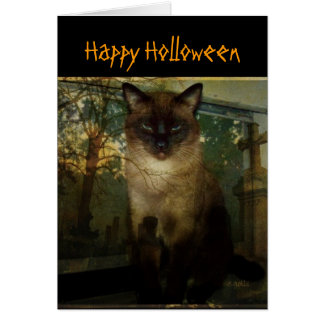 Spooky Siamese Cat Halloween Greeting Card