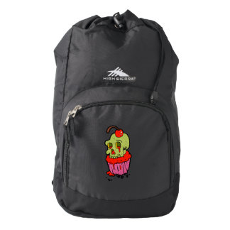 spooky skull cupcake cartoon backpack