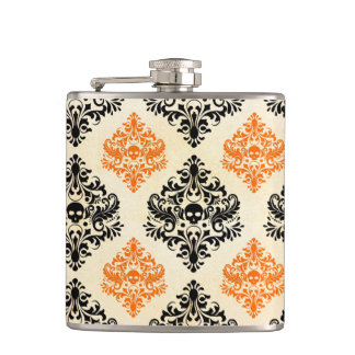 Spooky Skull Pattern Black Orange Gold Halloween Hip Flask