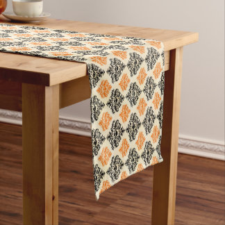 Spooky Skull Pattern Black Orange Gold Halloween Short Table Runner