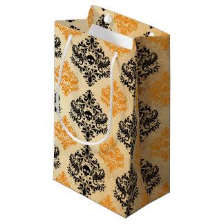 Spooky Skull Pattern Black Orange Gold Halloween Small Gift Bag