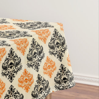 Spooky Skull Pattern Black Orange Gold Halloween Tablecloth